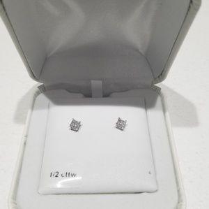 1/2 CT 14k White Gold Diamond Studs